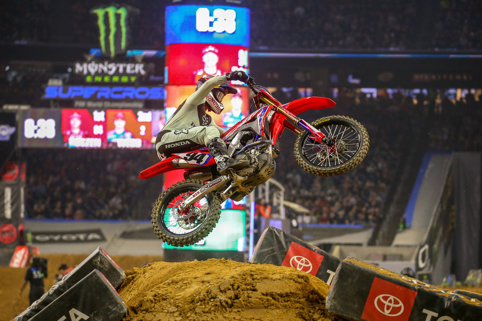 Ken Roczen won the first moto of the night, but a first-turn crash (and dinged foot) in the second moto hurt his overall.