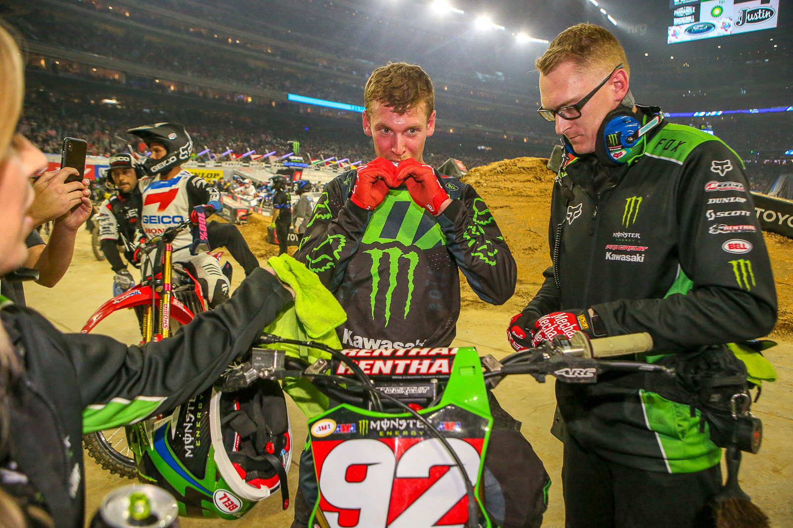 Adam Cianciarulo took the first moto of the 250 Triple Crown, and downed a gel pack before heading for the podium. Unfortunately an off-track excursion in the second main hurt his overall for the night.