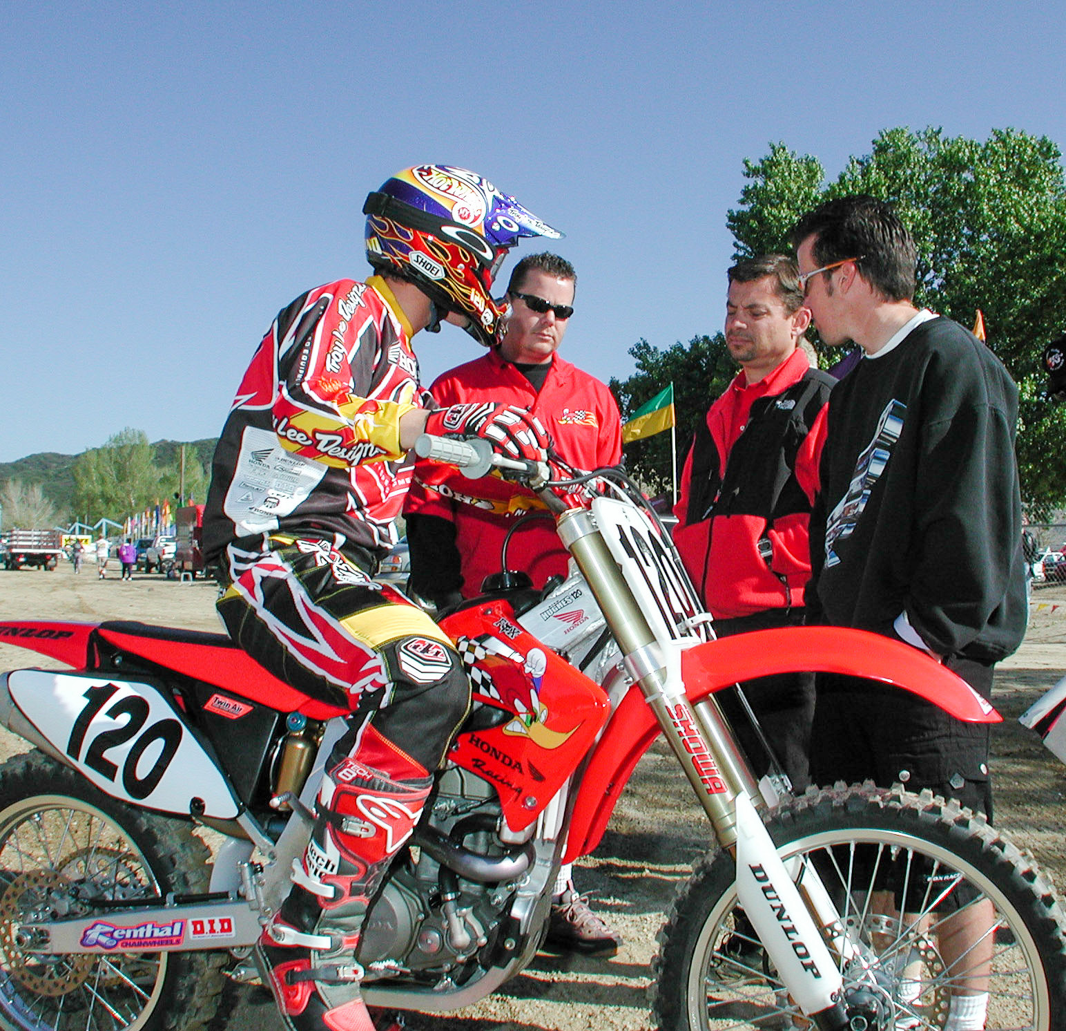 Honda brought out a whole crew of people to tend to the bike, including Dan Betley (second from right), and the late Dave Chase (second from left).