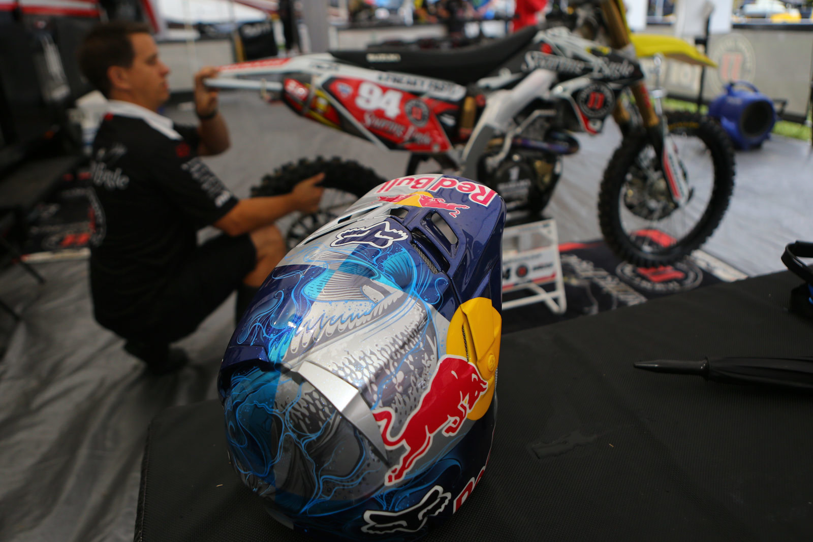 Airtrix does a lot of the helmets for Ken Roczen, and there are often some cool (but subtle) things going on in the background. Take this koi fish as an example.