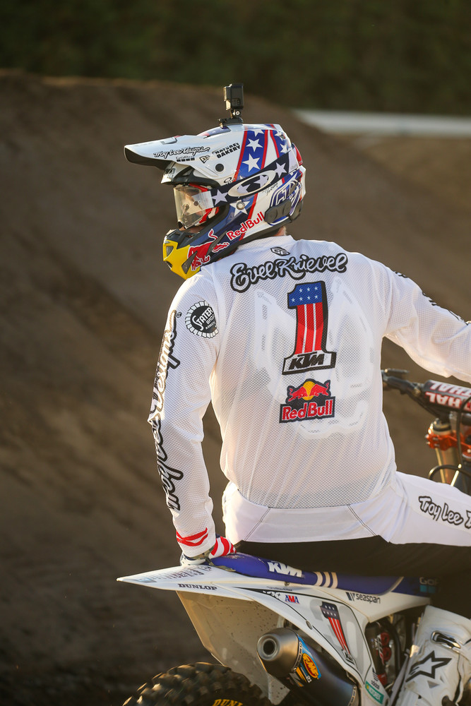 We liked this Evel-inspired helmet that Brandon Hartranft wore at last year's Red Bull Straight Rhythm.