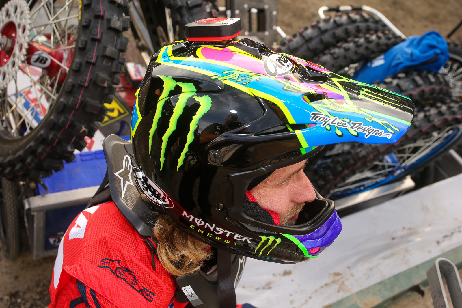 TLD stuff also gets turned into production helmets for other brands, like this one for Justin Barcia.