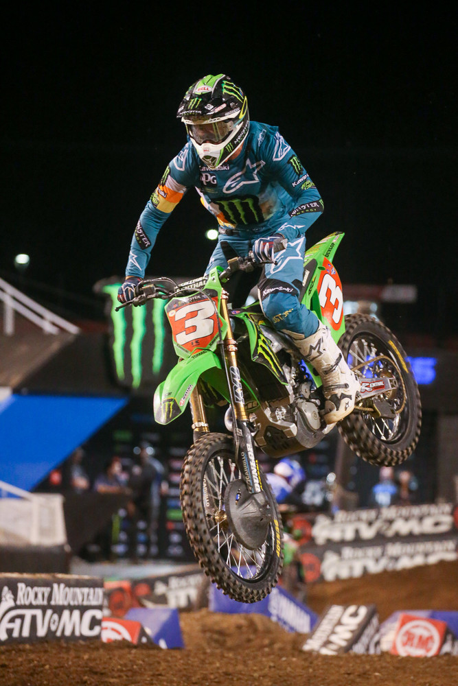 Eli Tomac didn't blaze through the entire pack like he did on Sunday, but he was closing on Cooper Webb at the end. He also minimized the damage to his points lead by moving from ninth to second at the finish.