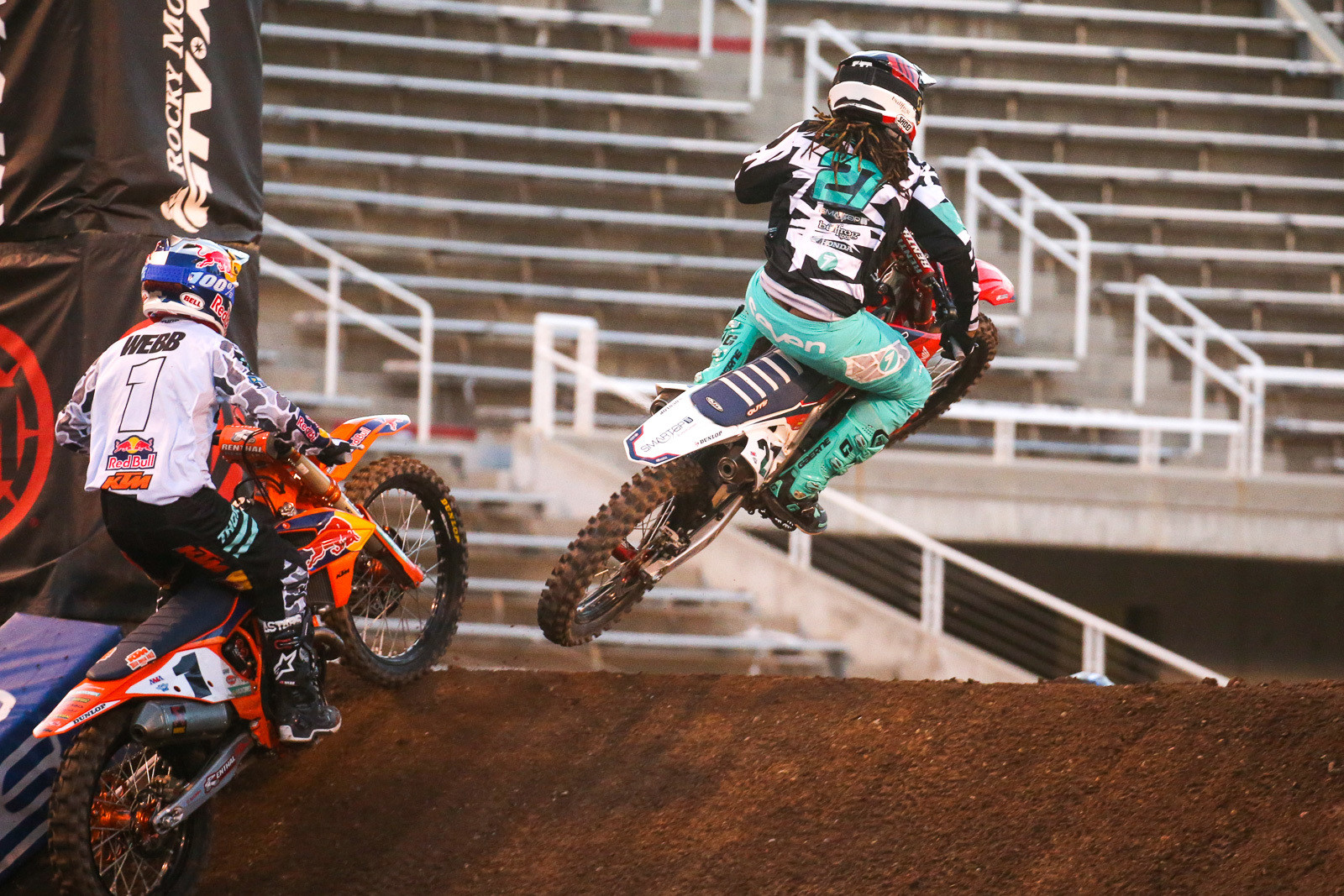 Malcolm Stewart and Cooper Webb battling it out in the heat race.