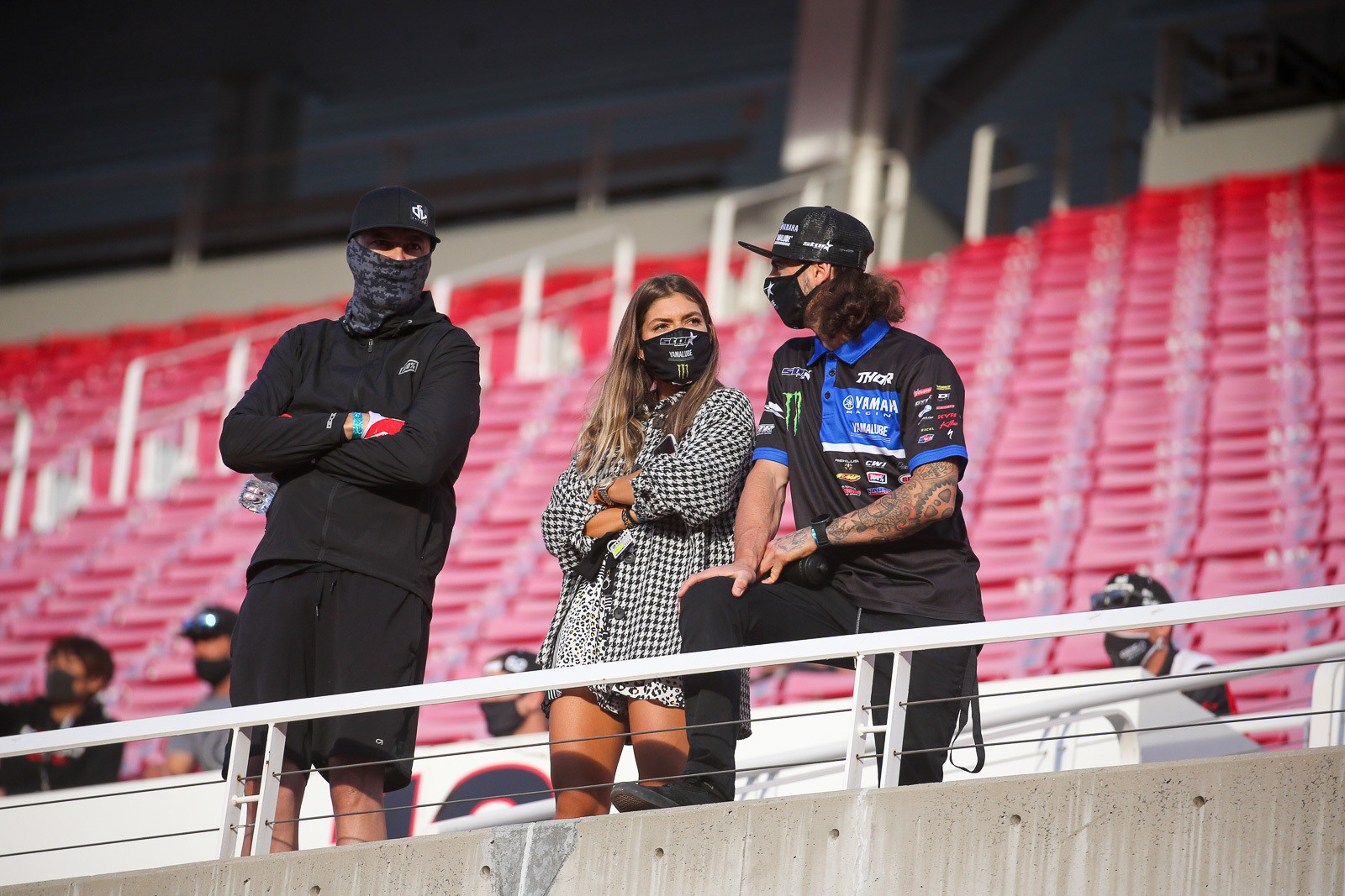 David Vuillemin, Dylan's wife Nastasia, and Dylan Ferrandis scoping out the track before practice.