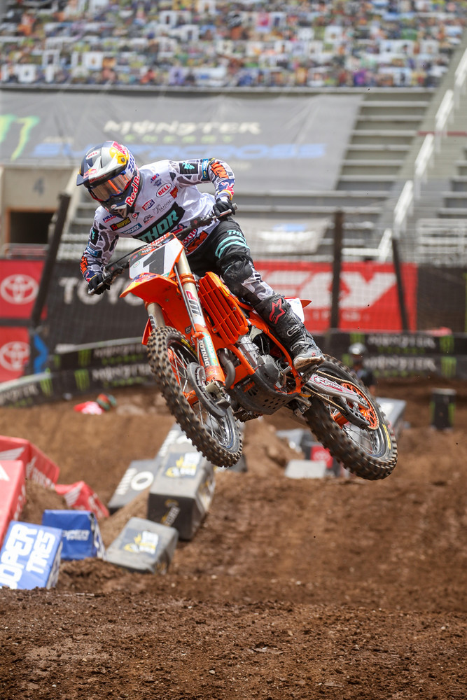 Next up was Cooper Webb, who jumped up six spots. He didn't seem to have quite the same fire in the last race of the season as he had in the previous rounds.