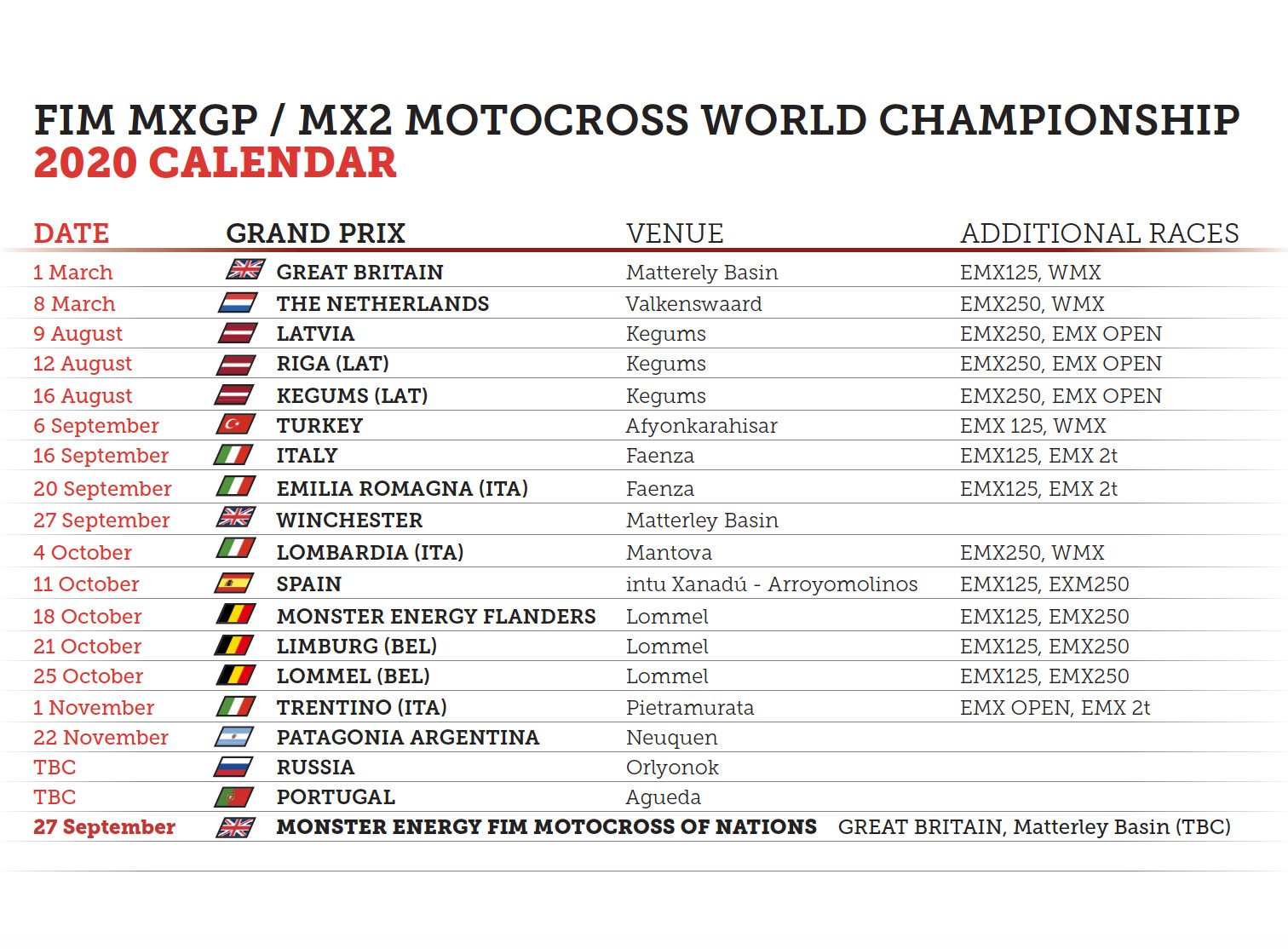 2020 MXGP updated calendar with triple- and doubleheaders.