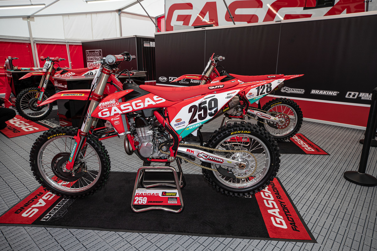 "Here is the GASGAS 450 that Glen Coldenhoff raced with at the first two rounds of the 2020 MXGP series. Clearly red ""KTM"" plastics and red frame."
