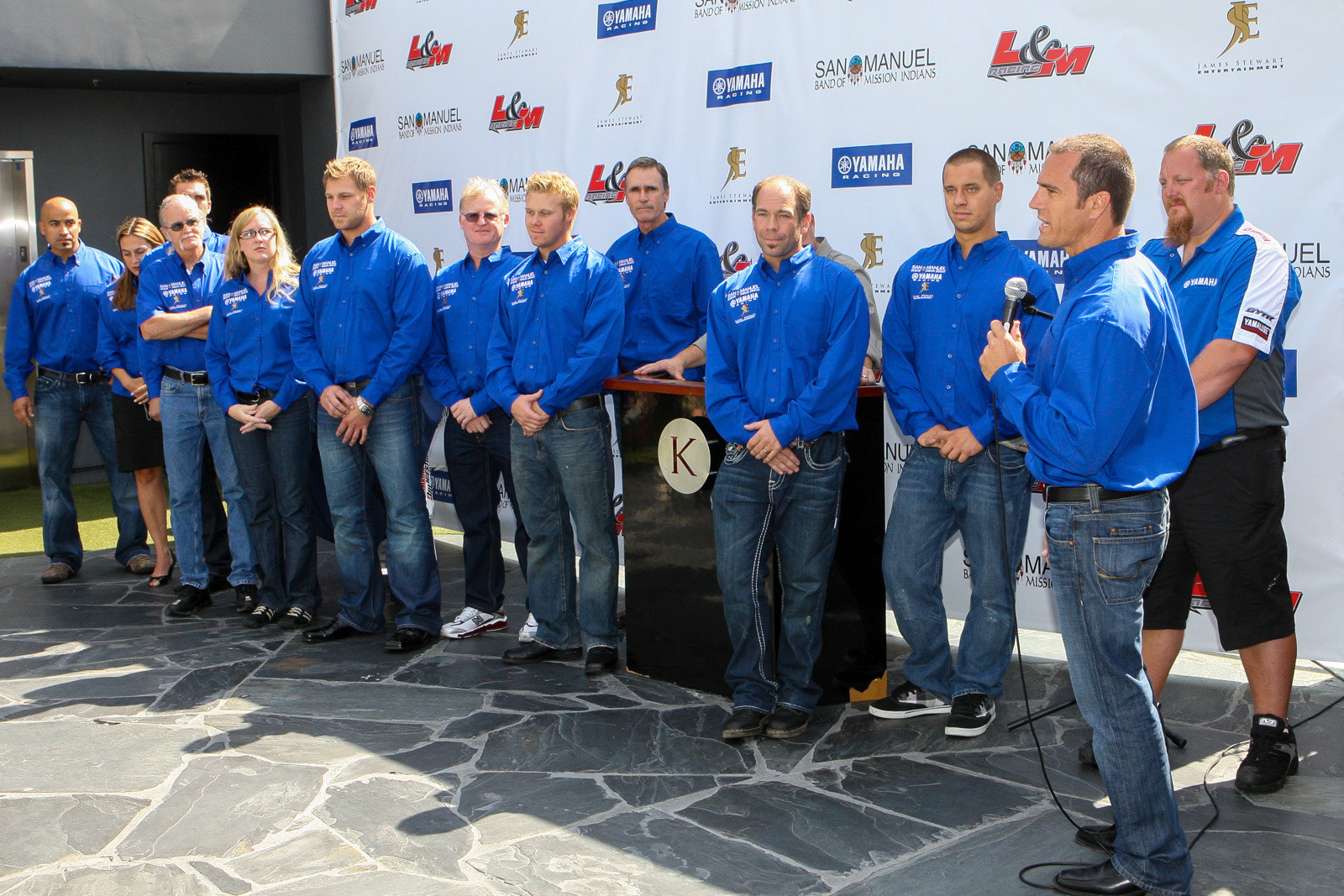 At the L&M team intro (he's third from right) and James Stewart and Chad Reed.