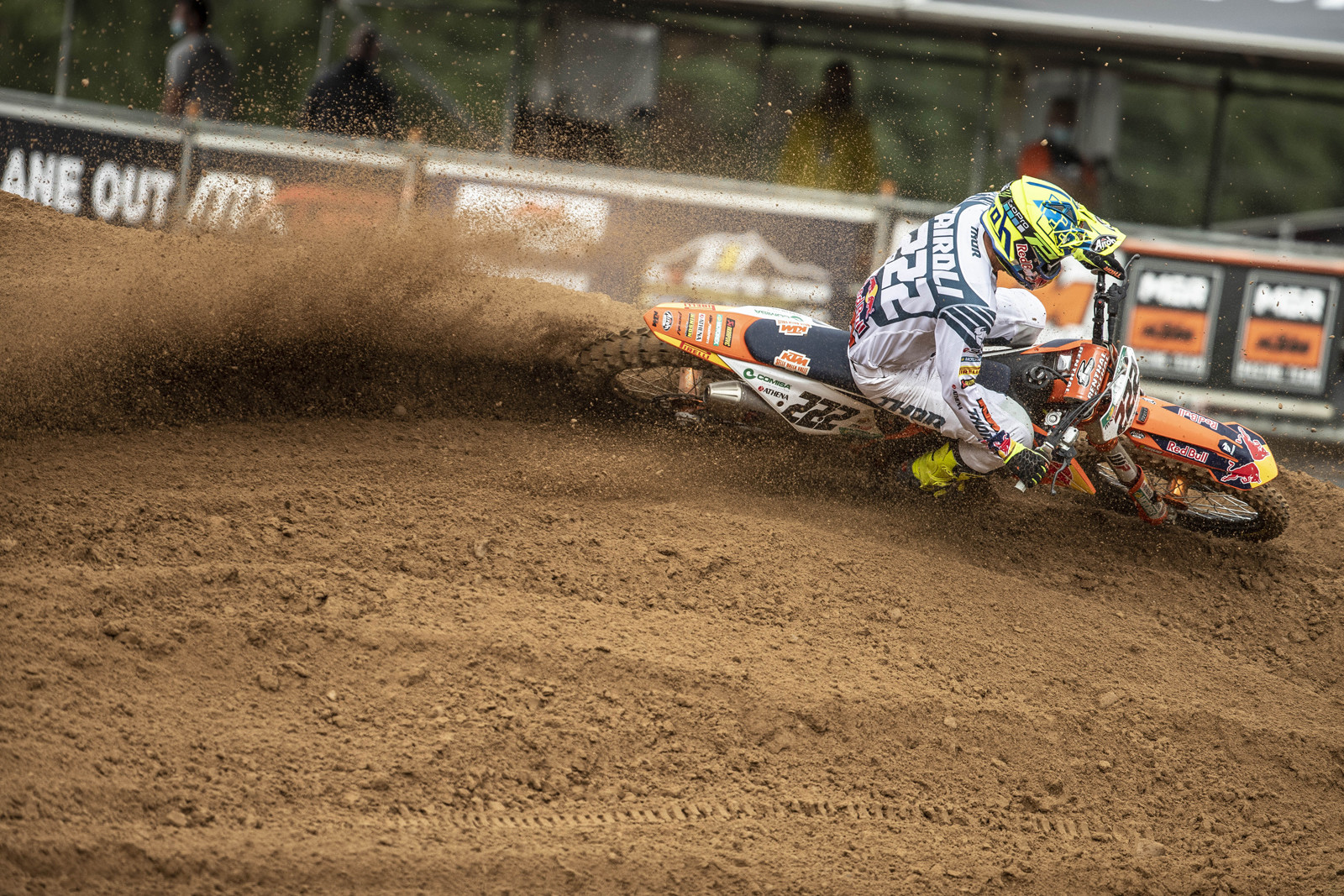 """Tony Cairoli: """"I'm really happy to be back on the podium and with a win. Last Sunday wasn't my day and I was dealing with another injury to my knee. I didn't know what to expect. I went to the hospital to get some fluid and anti-inflammatory treatment. It was pretty sore and swollen. In the first moto I stayed out of trouble, made my rhythm, kept smooth and tried to keep my feet up. I was really happy with how it went. In the second moto I made another good start but Jeffrey and [Arminas] Jasikonis were riding really fast. I just tried to follow, and I knew my condition was OK: if I could be with them then I could push even more at the end. At one point in the waves I saw the yellow flags and Jeffrey on the floor. He picked up and started very fast in front of me and I was a bit shocked and had to brake. I lost the front wheel. I had a gap over the others so held my position and watched what would happen. I'm really happy with the result and the improvement over last weekend – especially with the starts – so now I'm looking forward to the next Sunday. Hopefully the knee can be a bit stronger and ready for the battles we all want to see."""""""