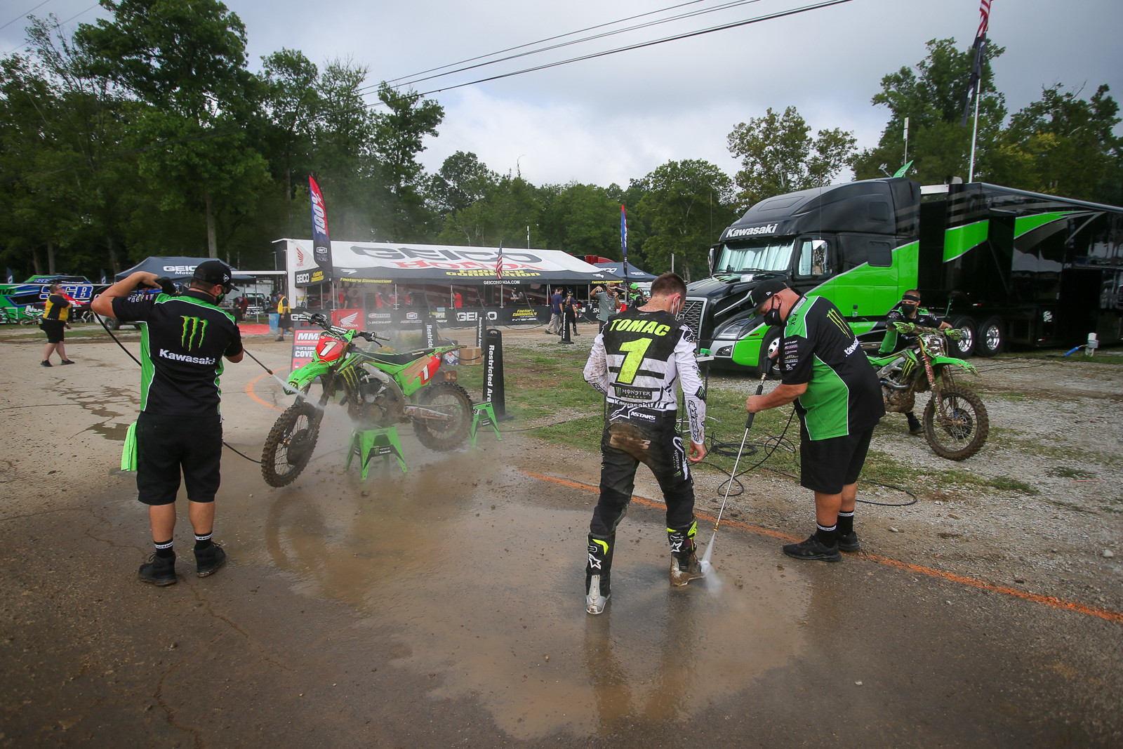 With no fans in the pits, you got scenes like this, with Eli Tomac well-removed from the confines of the Monster Energy Kawasaki footprint. He lost some time in one of the practice sessions when his bike got stuck in a really deep rut.
