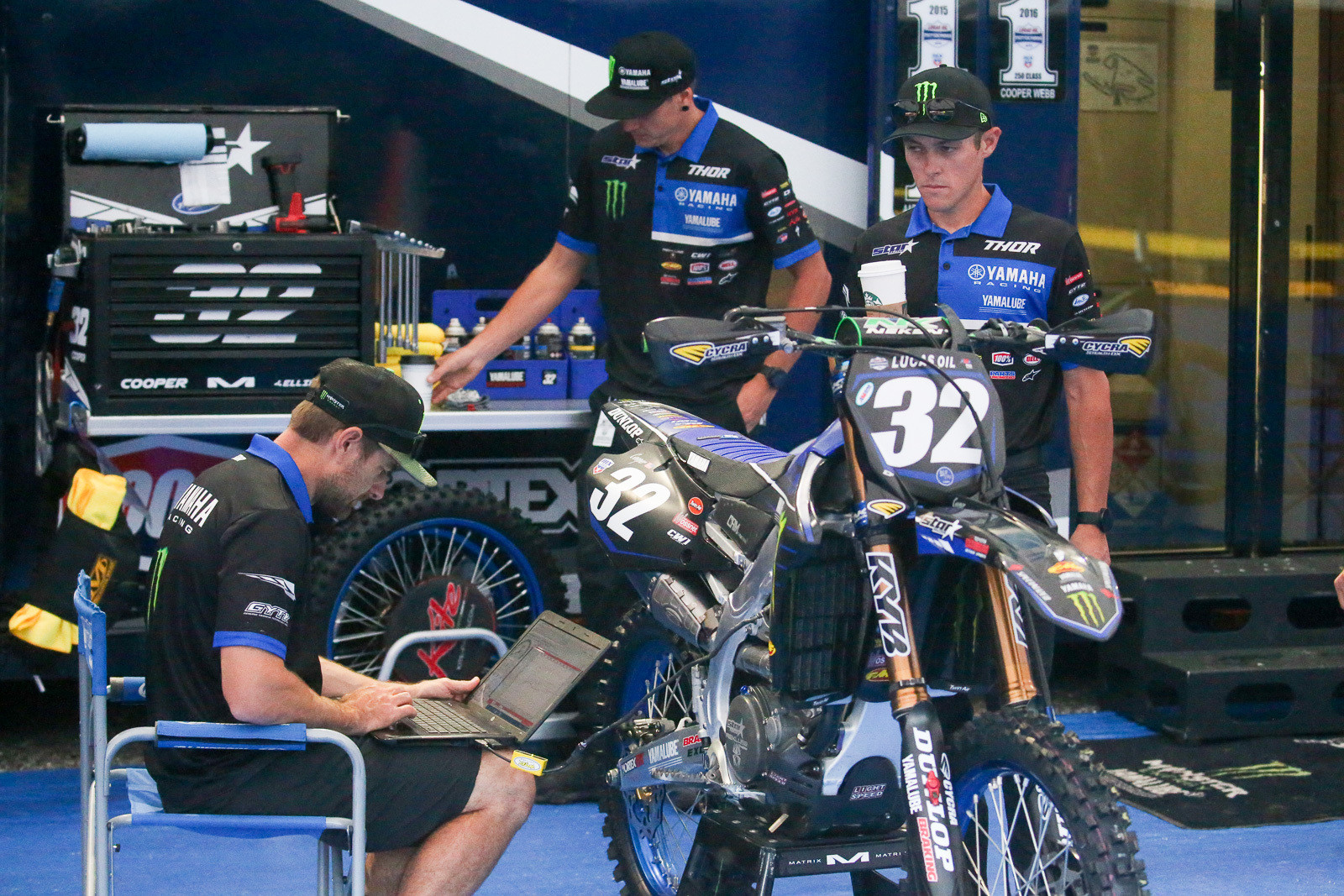 Dialing in the morning setup for the Yamalube Star Racing Yamaha bikes.