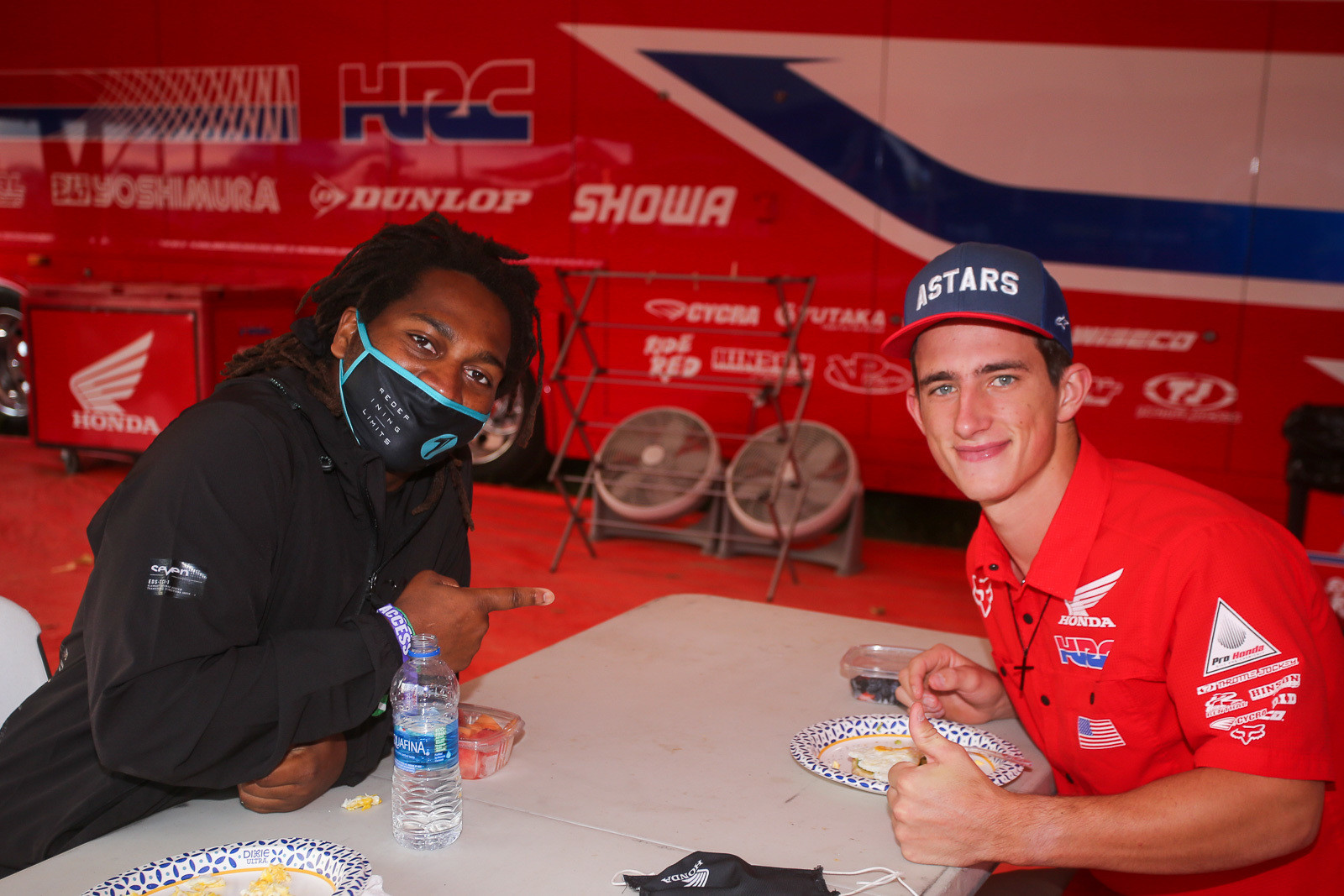It was good to see James Stewart back at the races. He was hanging out under the Team Honda HRC tent with Chase Sexton for a little early morning breakfast.