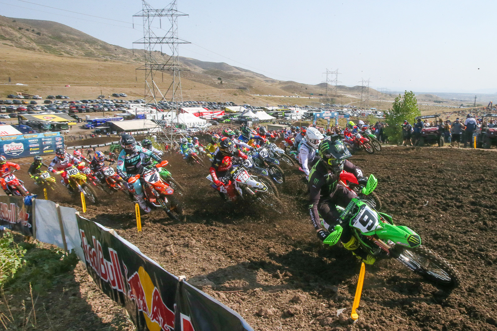 Adam Cianciarulo leads the pack in moto one.