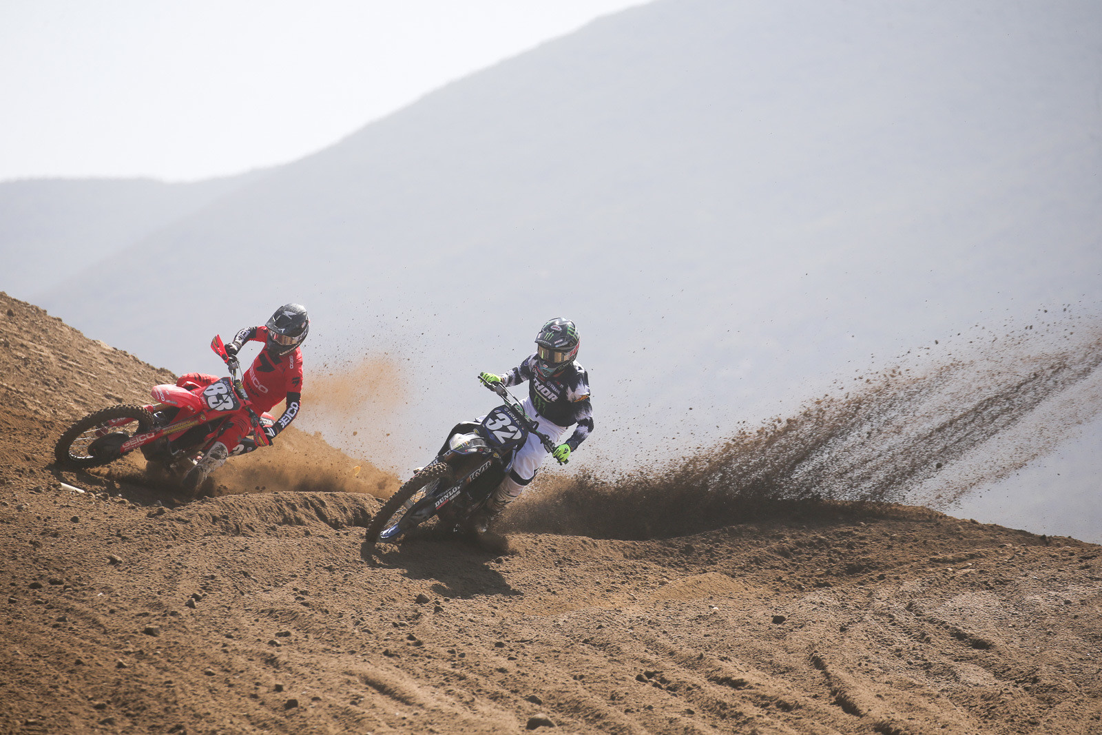 Jett Lawrence and Justin Cooper duking it out in the first moto.