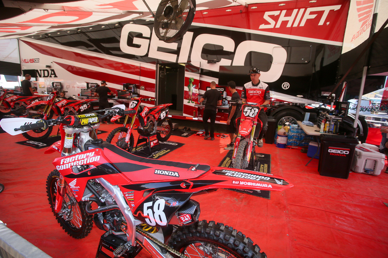 The GEICO Honda gang announced that they're done...at least for now. They're still hunting for new sponsorship, and hope to be back in the future. But for now, they're on the sidelines. During Friday's amateur racing, the team had Hunter Yoder under their awning for his only appearance there.