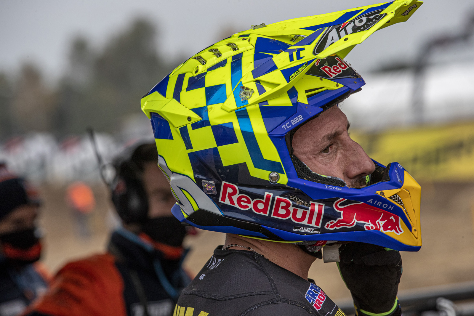 Antonio Cairoli was collected in a first turn crash in moto one that put in 13th at the checkers. 6th in the second moto gave him 9th overall on the day. But he got a new lid!