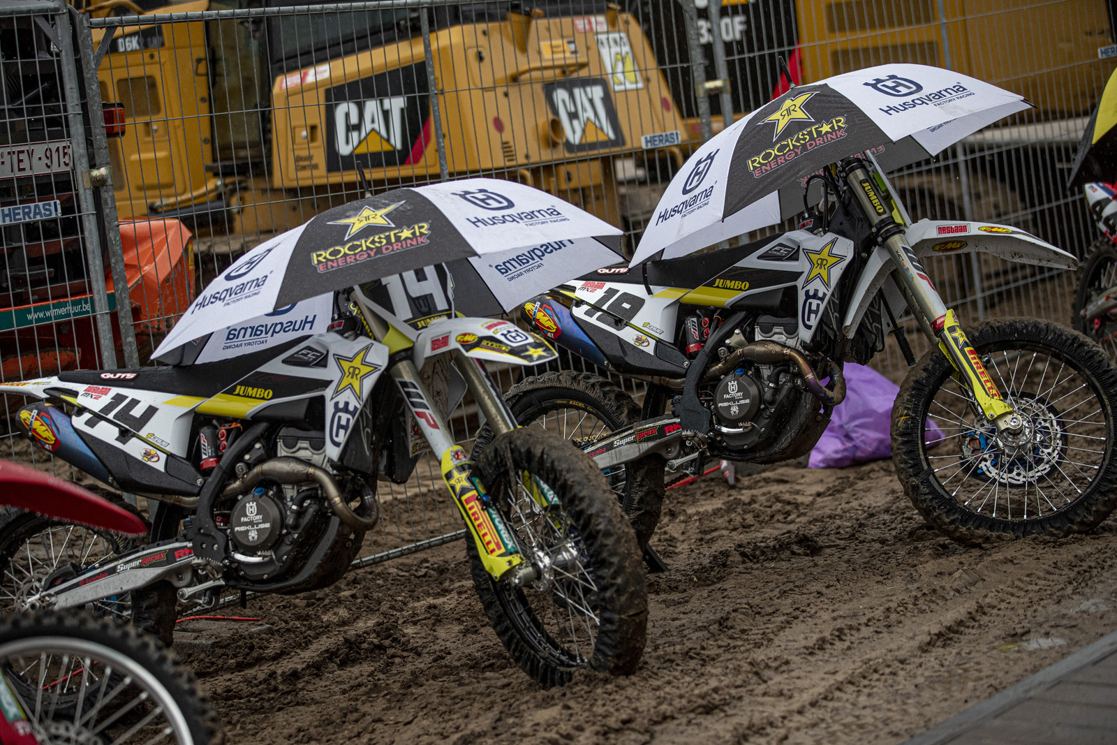 Another rainy day at Lommel. Bikes need to stay dry, too.