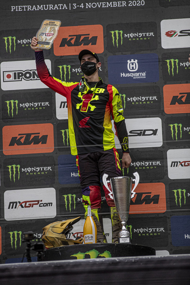 """Tim Gajser: """"It feels unbelievable to be world champion for a fourth time. Winning one time is amazing, but four times, I'm just speechless. It was a weird season with the COVID-19 and then the break between the rounds two and three, but in the end, everything came together and we won another title! Racing today was very nice, in the first race, I didn't have the best start but I was still able to come through the field and finish second and that meant that if I could win race two, I would take the overall. In the second moto I grabbed the holeshot and then had a really good battle with Romain all the way to the chequered flag. We were pushing the whole time so I'm super happy to win this title and the overall on the same day. A big thanks to the whole of Team HRC, there are a lot of people who are involved who couldn't be here today so a big thank you to all of them and to everyone who has supported me all year long. It is a privilege to ride for this team and I appreciate every single person who has helped me. Thank you!"""""""