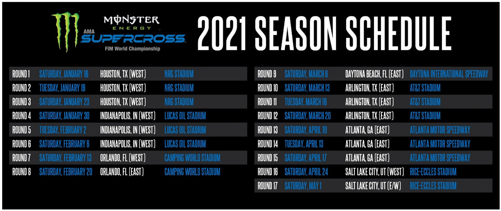 Complete 2021 Monster Energy Supercross Schedule.