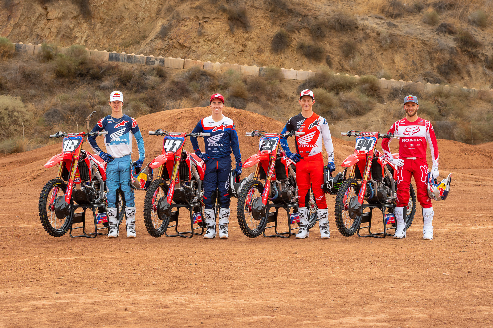 Here's the complete Team Honda HRC squad for '21. From left to right, it's the 250 squad of Jett and Hunter Lawrence; and the 450 crew of Chase Sexton and Ken Roczen.