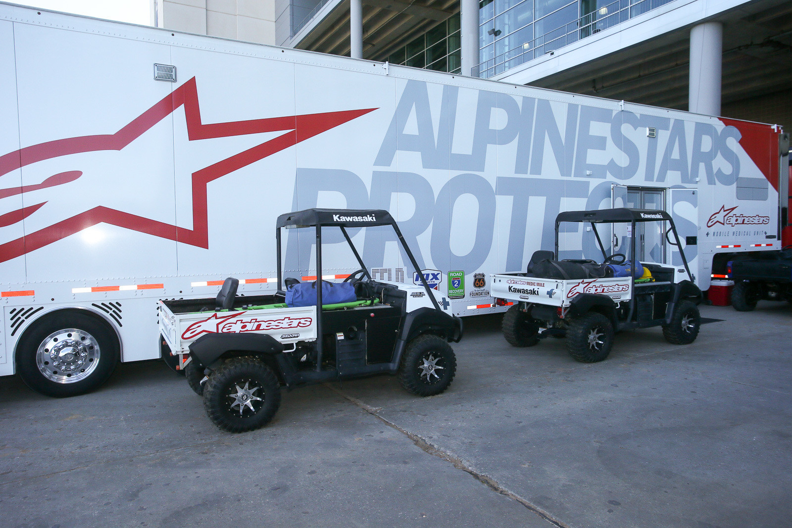 The Alpinestars Mobile Medical medic mules got a repaint that makes them more closely aligned with the rig.