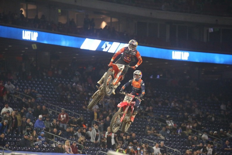 This was the battle of the night, with Cooper Webb making the pass on Ken Roczen after Ken was held up by Dean Wilson.