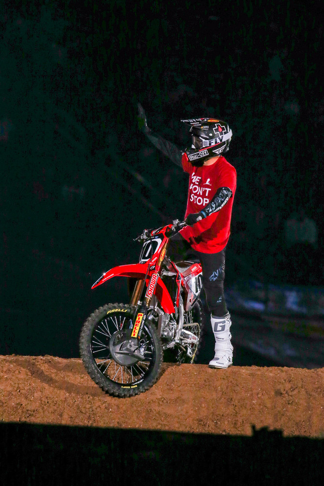 """Once again, St. Jude is figuring prominently in fundraising with the Supercross crew. This year's program, """"We don't stop"""" is getting a ton of support from all the riders, including Justin Brayton, who wore the t-shirt you can get for making a donation during opening ceremonies."""