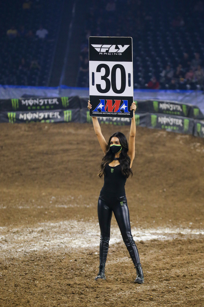 We can't wait until the Monster girls are unmasked again. GuyB caught some grief from anti-maskers on Youtube and IG after he posted the Supercross pre-race video. The bottom line is, no mask, no access...and we're here for the racing, not the arguments.