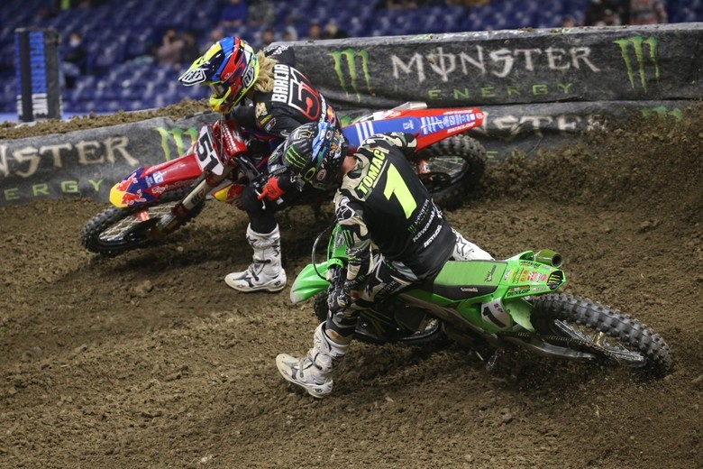 Eli Tomac tried several times, but he could not get around Justin Barcia.