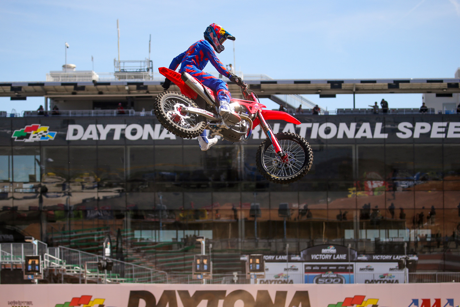 Ken Roczen getting a little loose on Friday. The 450 series points leader was also the fastest qualifier on Saturday.