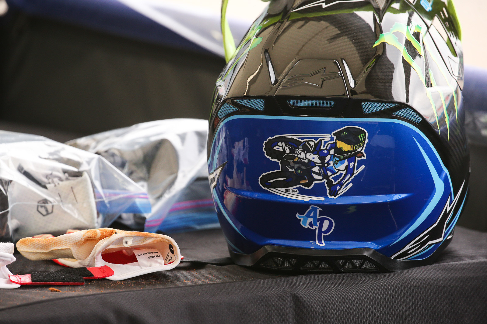 We like the 'toon on AP's Alpinestars lid.