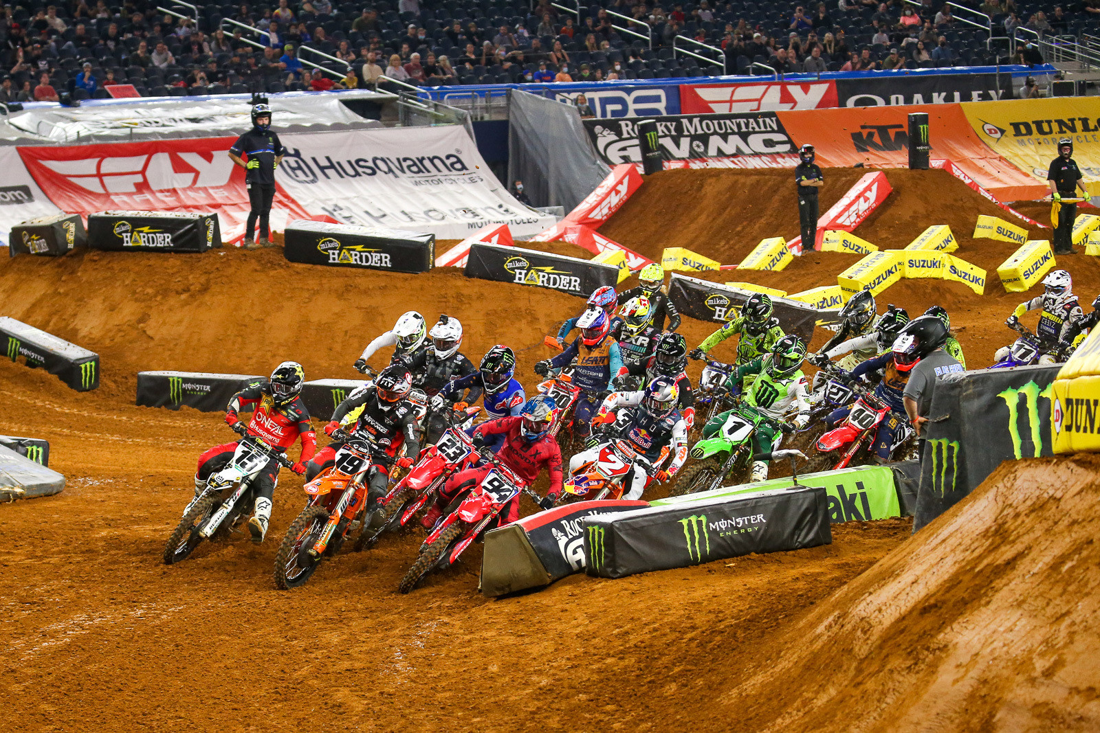 The start of the 450 main (above and below).