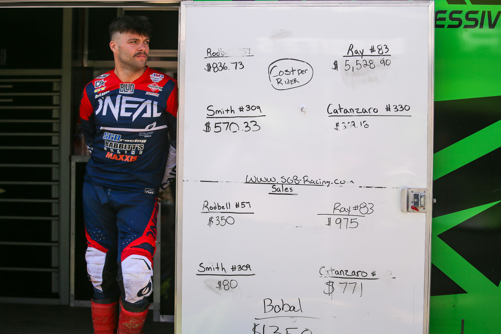 """For fun, SGB Racing has a running tally of parts consumed by the team riders. Alex Ray is """"winning"""" by a large margin. A couple of points to note there included a frame replacement (after he landed on Vince Friese's bike in Indy), and a blown-up engine at Daytona."""
