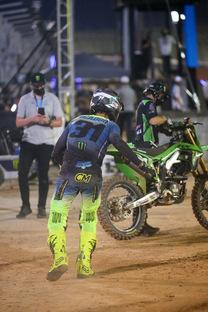 """Cameron Mcadoo """"sprinting"""" back to his bike after the crash early in the 250 main. By sprint we mean hobble/shuffle/limp."""