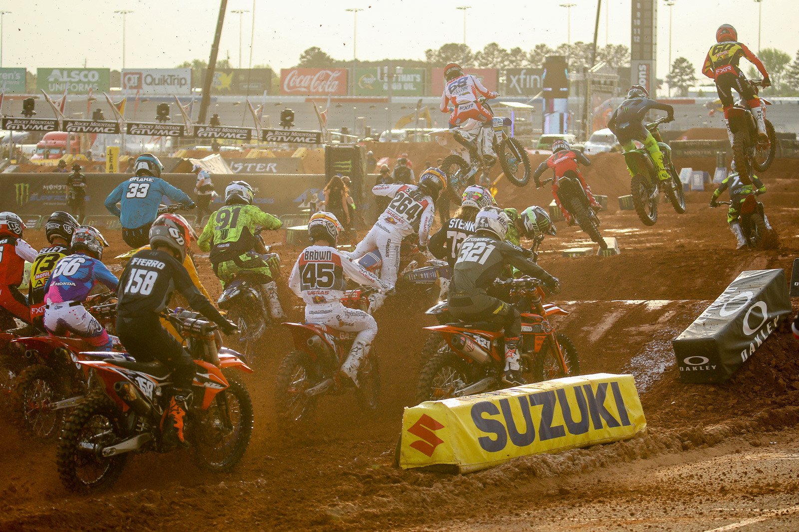 It was one of those days for Ryan Sipes (264). This was just after the start of the heat race.