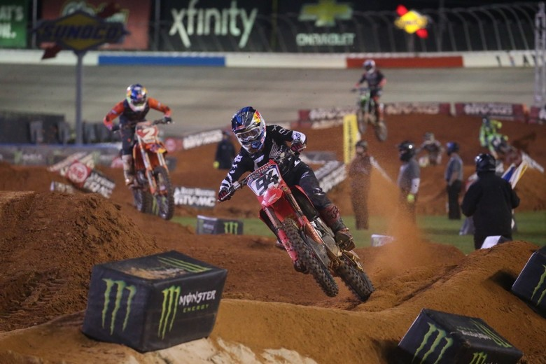 Ken Roczen led for the majority of the race, but he had to settle for second place.