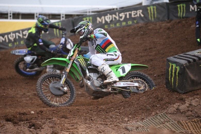 Eli Tomac fell two times during the Main Event and could only manage a 10th place finish.
