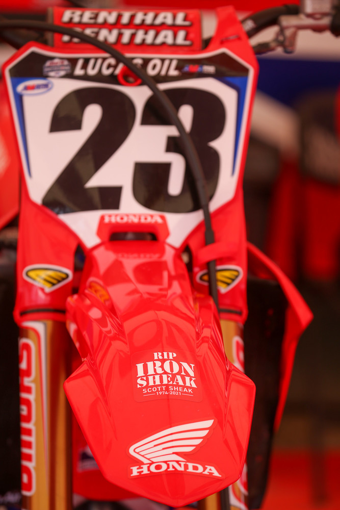 This showed up on Chase Sexton's bike during practice and added a different spin on Memorial Day weekend. RIP Scott.