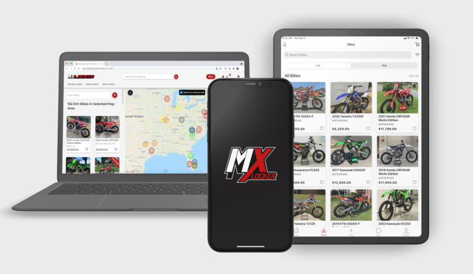 The all new dirt bikes for sale section, which allows users to use list view or map view to search for bikes in their area.