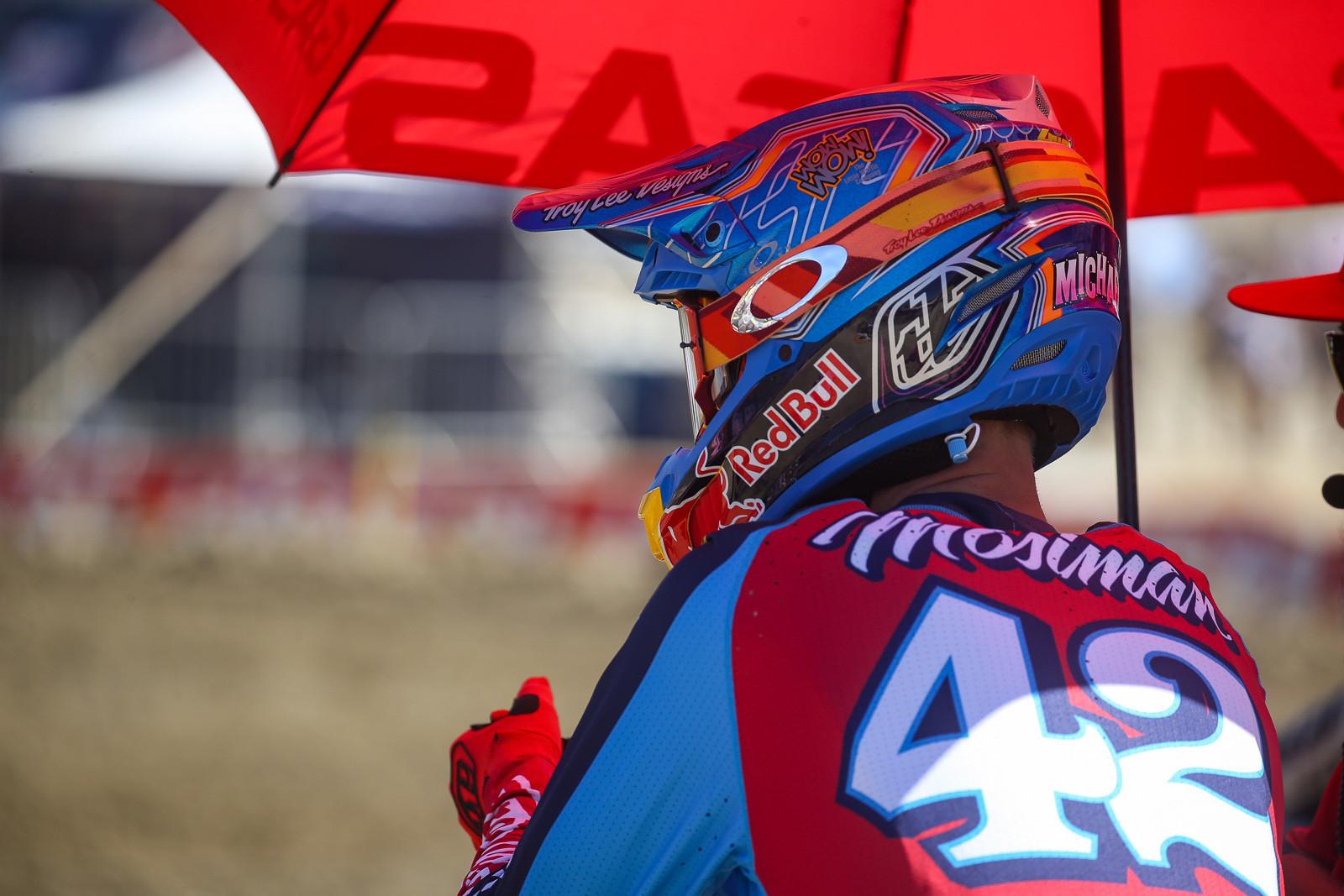 Hey, wait, is that a new TLD helmet on Michael Mosiman?