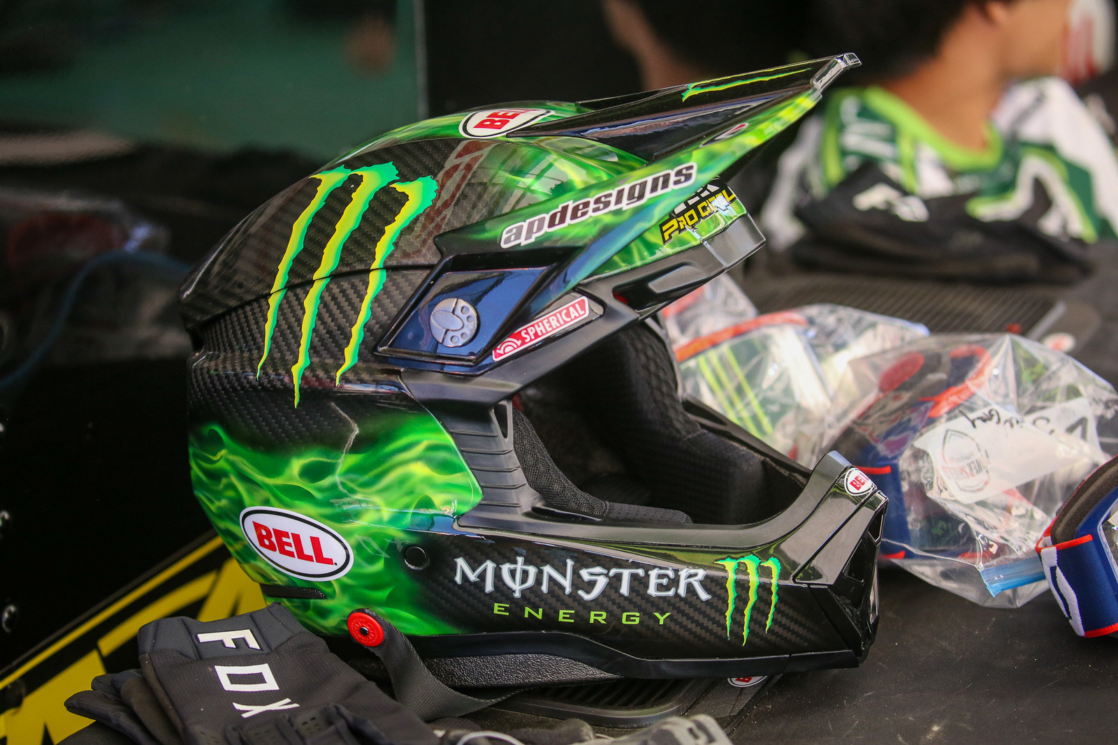 The green flames were a nice touch on the Monster Energy Pro Circuit Kawasaki Bell Helmets.