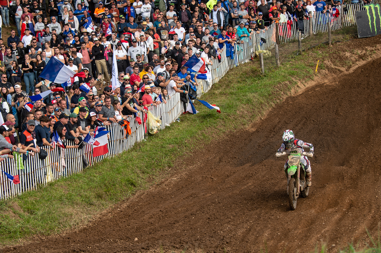 """Romain Febvre: """"I was happy to win the first moto. We saw already in the morning that our speed was much faster than the others so it was a real challenge which of us would win. I was quickly second with a couple of good passes in the first race; I had a really good spot to pass but I didn't want to show it to Jeffrey until I was sure I was close enough. It was tough at the end with the lapped riders but we won and could celebrate that one with the French fans. In the second moto we were already first and second again after a few turns so I knew it would be a challenge to the end. I got around Jeffrey when he made a mistake and I made a few fast laps to make a gap but at the end he was faster in some sectors. Obviously I am a little disappointed. I almost won at home but it's good to be on the podium and I am happy to see so many fans; they deserved the win but I couldn't quite make it happen for them. It's nice to have three of us really close in the points; hopefully we keep it like this to the end and I can find something to make the difference at the last few rounds."""""""