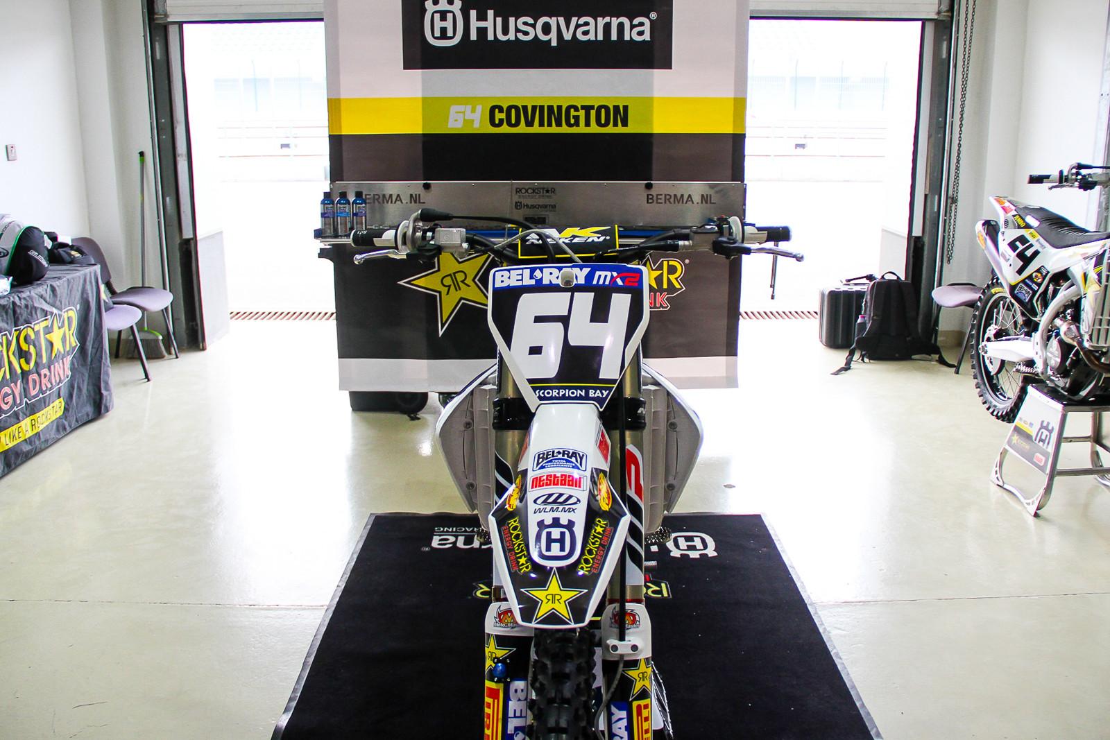 Thomas Covington's Rockstar Energy Husqvarna FC 250 - Vital MX Pit Bits: 2017 MXGP of Qatar - Motocross Pictures - Vital MX