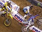 Justin Barcia and Blake Baggett Collide - East Rutherford Supercross