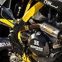 Pro Circuit exhaust, Hinson clutch, Legacy MX carbon frame guards, Akropovic Ti pegs, Boyesen cooler, Works Chassis Labs mounts, and Racetech Titanium hardware