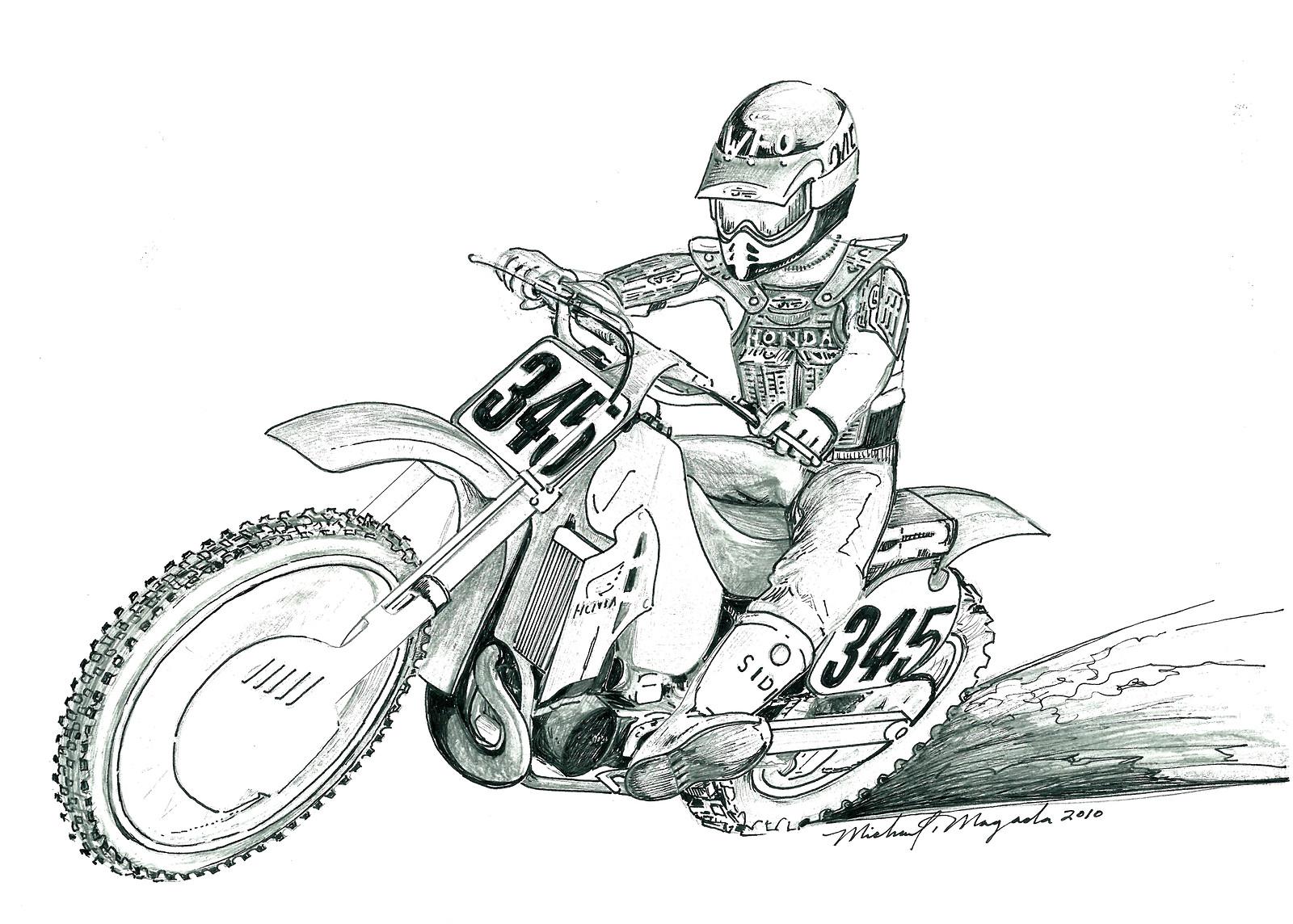 рисунки карандашом черно белые мотоцикла многих