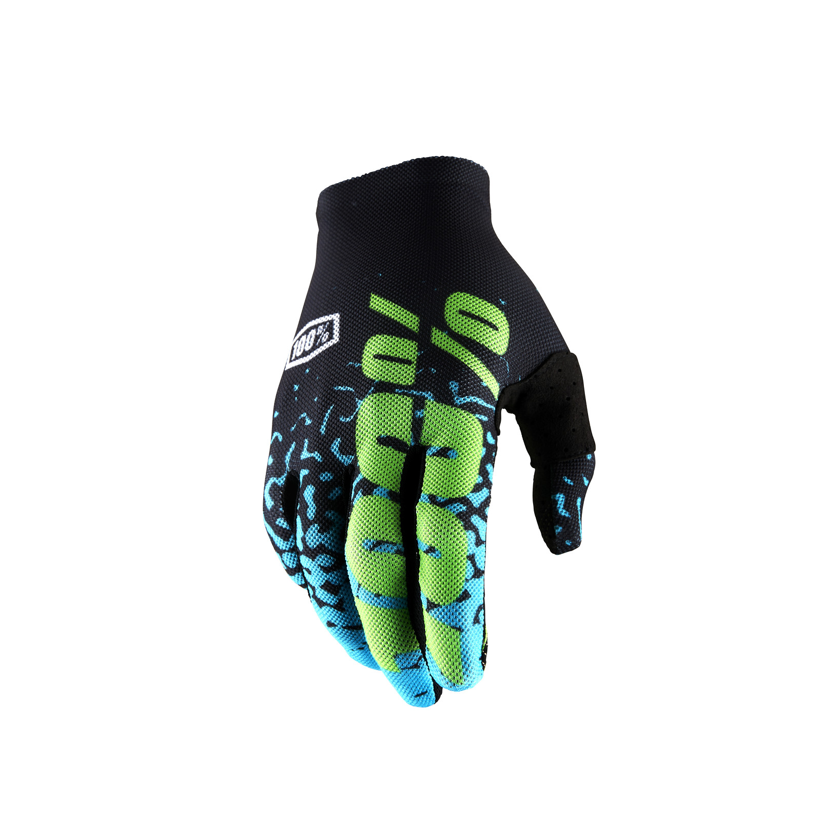 Celium 2 Glove - Flash Black / Cyan - 100percent - Motocross Pictures - Vital MX