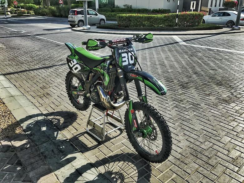 2006-2014 Kawasaki KX250F 250 F Green Chain and Sprocket Black 13//48 114L