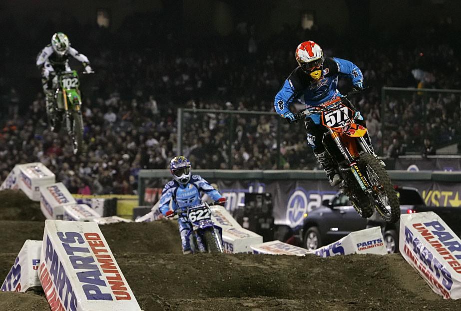 Martin Davalos, Kyle Cunningham and Chris Gosselaar - 2007 Amp'd Mobile Supercross: Anaheim 3 - Motocross Pictures - Vital MX